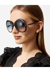 Tom Ford - TOM FORD - Czarne okulary przeciwsłoneczne Rose. Kształt: okrągłe. Kolor: czarny