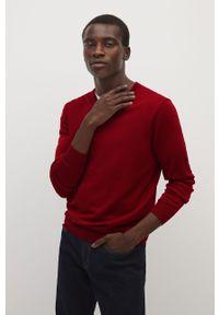Czerwony sweter Mango Man z długim rękawem, casualowy, na co dzień