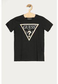 Szary t-shirt Guess casualowy, z nadrukiem, na co dzień