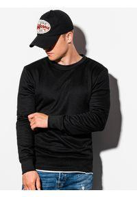 Ombre Clothing - Bluza męska bez kaptura B978 - czarna - XXL. Okazja: na co dzień. Typ kołnierza: bez kaptura. Kolor: czarny. Materiał: poliester, bawełna, materiał. Styl: klasyczny, casual