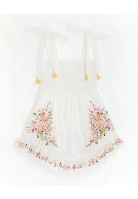 ZIMMERMANN KIDS - Haftowana sukienka Mae 0-10 lat. Typ kołnierza: dekolt kwadratowy. Kolor: biały. Materiał: bawełna. Długość rękawa: na ramiączkach. Wzór: haft. Sezon: lato