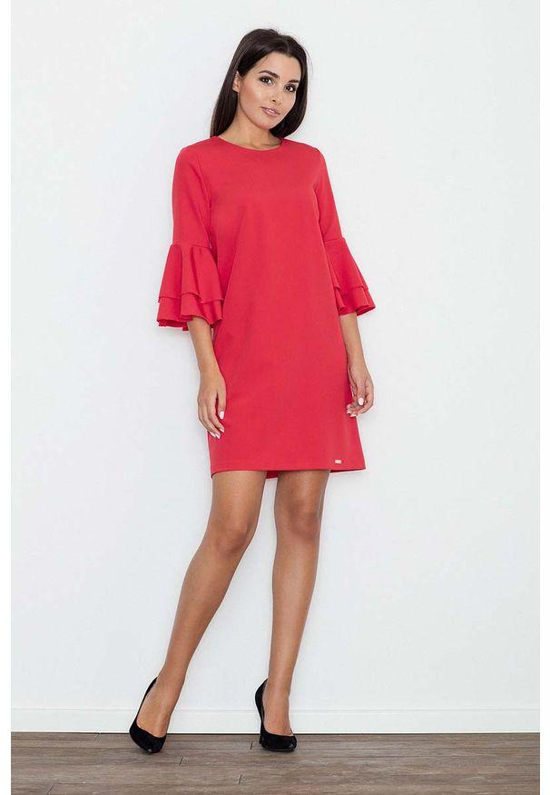 Figl - Czerwona Elegancka Sukienka z Hiszpańskim Rękawem. Kolor: czerwony. Materiał: wiskoza, poliester. Styl: elegancki