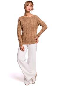MOE - Uniwersalny Sweter z Warkoczowym Splotem - Beżowy. Kolor: beżowy. Materiał: poliamid, akryl. Wzór: ze splotem