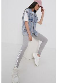 Adidas - adidas - Legginsy. Stan: podwyższony. Kolor: szary. Materiał: bawełna, dzianina. Wzór: melanż, nadruk