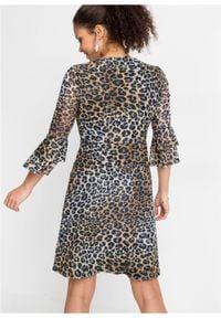 Sukienka kopertowa w cętki leoparda bonprix beżowo-brązowo-szary leo. Kolor: szary. Typ sukienki: kopertowe