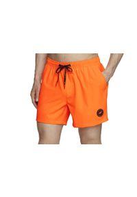 Pomarańczowe spodenki sportowe 4f w kolorowe wzory