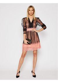 TwinSet - Czarno-różowa koronkowa sukienka koktajlowa. Kolor: czarny. Materiał: koronka. Długość rękawa: na ramiączkach. Wzór: koronka. Styl: wizytowy. Długość: mini