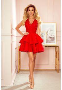 Numoco - Piękna Rozkloszowana Sukienka z Koronką - Czerwona. Kolor: czerwony. Materiał: koronka. Wzór: koronka