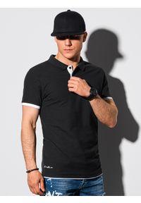Ombre Clothing - Koszulka męska polo bawełniana S1382 - czarna - XXL. Typ kołnierza: polo. Kolor: czarny. Materiał: bawełna. Wzór: nadruk. Styl: klasyczny