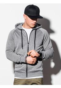 Ombre Clothing - Bluza męska rozpinana z kapturem B1083 - szary melanż - XL. Typ kołnierza: kaptur. Kolor: szary. Materiał: poliester, bawełna, materiał. Wzór: melanż