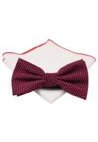 Czerwona muszka Chattier w geometryczne wzory, elegancka