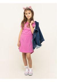 Różowa sukienka Guess casualowa, na co dzień, prosta