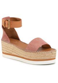 Różowe sandały See By Chloé na średnim obcasie, na obcasie
