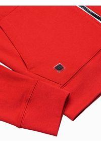 Ombre Clothing - Bluza męska rozpinana z kapturem B1152 - czerwona - XXL. Typ kołnierza: kaptur. Kolor: czerwony. Materiał: bawełna, poliester