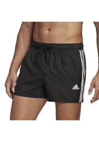 Czarne spodenki sportowe Adidas do pływania, na lato, w paski
