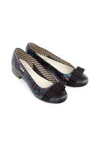 Czarne baleriny Zapato wąskie, z nadrukiem, eleganckie