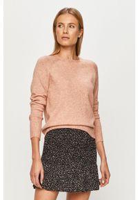 only - Only - Sweter. Kolor: różowy. Materiał: dzianina, materiał. Długość rękawa: raglanowy rękaw. Wzór: gładki