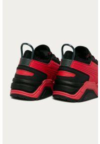 Czerwone sneakersy Armani Exchange z okrągłym noskiem, na sznurówki