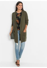 Długi sweter bez zapięcia bonprix ciemnooliwkowy. Kolor: zielony. Długość: długie