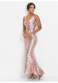 Różowa sukienka bonprix maxi, wizytowa