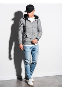 Ombre Clothing - Bluza męska rozpinana z kapturem B1223 - szary melanż - XXL. Typ kołnierza: kaptur. Kolor: szary. Materiał: bawełna, poliester. Wzór: melanż