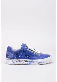 Niebieskie buty sportowe GOE z cholewką, na obcasie, na średnim obcasie, na sznurówki