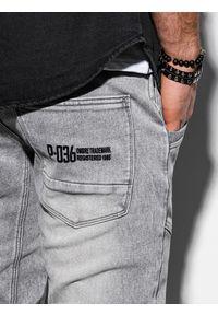 Ombre Clothing - Spodnie męskie jeansowe joggery P551 - szare - XXL. Kolor: szary. Materiał: jeans. Wzór: aplikacja