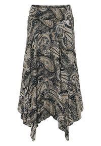 Spódnica z asymetryczną linią dołu bonprix czarno-piaskowy beżowy - paisley. Kolor: czarny. Długość: długie. Wzór: paisley