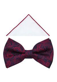 Modini - Granatowo-czerwona muszka we wzór - czerwony paisley A395. Kolor: niebieski, czerwony, wielokolorowy. Materiał: tkanina, poliester. Wzór: paisley. Styl: elegancki