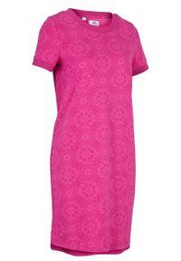 Sukienka shirtowa, krótki rękaw bonprix fuksja w graficzny wzór. Kolor: różowy. Długość rękawa: krótki rękaw