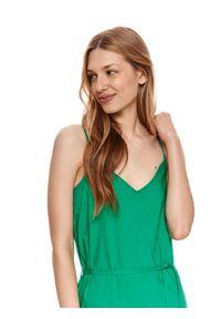 TOP SECRET - Sukienka midi z falbaną. Typ kołnierza: dekolt w kształcie V. Kolor: zielony. Materiał: tkanina, bawełna. Długość rękawa: na ramiączkach. Długość: midi