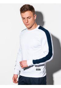 Biała bluza Ombre Clothing z aplikacjami, bez kaptura