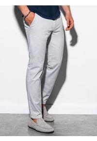 Ombre Clothing - Spodnie męskie chino P894 - jasnoszare - XXL. Kolor: szary. Materiał: bawełna, elastan