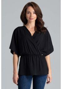 Czarna bluzka Katrus z kopertowym dekoltem