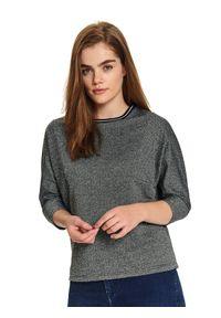 TOP SECRET - Damska nierozpinana bluza oversize. Okazja: na co dzień. Kolor: szary. Materiał: dzianina. Długość rękawa: krótki rękaw. Wzór: jodełka, paski. Sezon: jesień, zima. Styl: casual