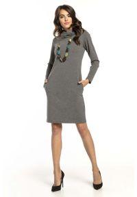 Szara sukienka wizytowa Tessita mini, z kominem