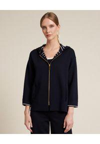Luisa Spagnoli - LUISA SPAGNOLI - Dwustronna bluza Meno. Kolor: biały. Materiał: wełna. Wzór: gładki, paski. Styl: elegancki