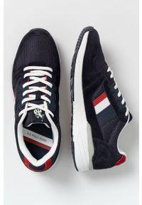 Niebieskie sneakersy U.S. Polo Assn z okrągłym noskiem, na sznurówki, z cholewką
