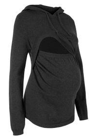Szary sweter bonprix moda ciążowa, z kapturem, melanż