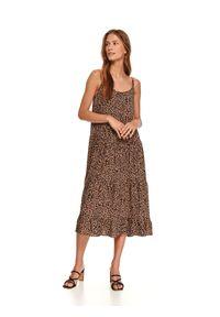 TOP SECRET - Luźna sukienka midi w panterkę. Kolor: brązowy. Materiał: dzianina. Długość rękawa: na ramiączkach. Wzór: motyw zwierzęcy. Sezon: jesień. Długość: midi