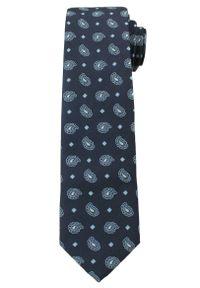 Męski Krawat w Oryginalny Wzór PAISLEY- 6 cm - Angelo di Monti, Ciemny Granatowy. Kolor: niebieski. Wzór: paisley