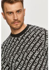 Czarna bluza nierozpinana Calvin Klein Jeans casualowa, bez kaptura, na co dzień
