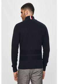Niebieski sweter rozpinany TOMMY HILFIGER casualowy, na co dzień, z golfem