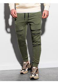 Ombre Clothing - Spodnie męskie dresowe joggery P901 - khaki - XL. Kolor: brązowy. Materiał: dresówka