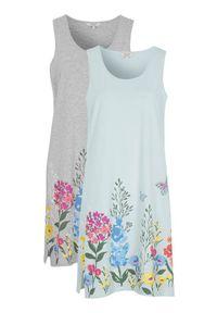 Cellbes Koszula nocna z miękkiej bawełny 2 Pack szary melanż błękitny female szary/niebieski 34/36. Kolor: szary, niebieski, wielokolorowy. Materiał: bawełna. Wzór: melanż