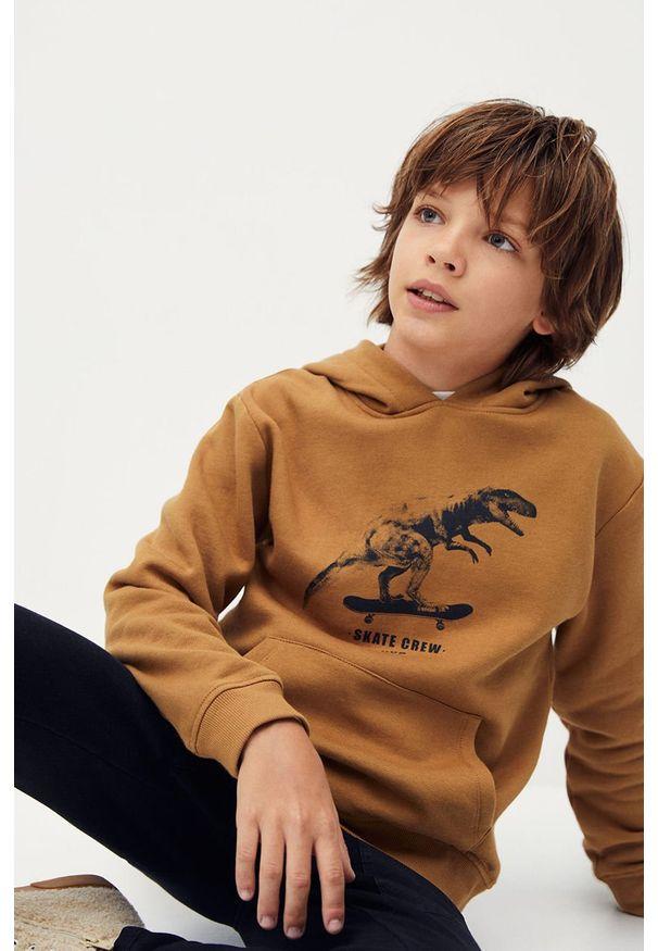 Brązowa bluza Mango Kids casualowa, na co dzień