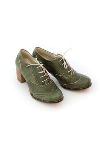 Zapato - sznurowane półbuty na 6 cm słupku - skóra naturalna - model 251 - kolor zielony retro. Kolor: zielony. Materiał: skóra. Obcas: na słupku. Styl: retro
