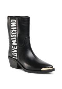 Czarne kowbojki Love Moschino na średnim obcasie, z aplikacjami, na obcasie, z cholewką