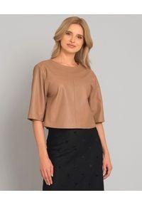 SELEZZA LONDON - Beżowa bluzka z naturalnej skóry. Okazja: do pracy, na co dzień. Kolor: beżowy. Materiał: skóra. Styl: casual