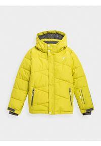 Zielona kurtka narciarska 4f na zimę, ze stójką